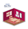 isometric floor plan of living room with carpet vector image vector image