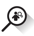 magnifying glass with man and cog icon vector image vector image