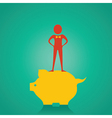 Man stand up on the piggy bank for saving money st vector image