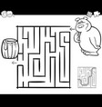 maze with bear coloring page vector image vector image