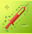 medical background with big syringe vector image
