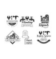 monochrome logos for repairing companies plumbing vector image vector image