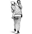 mother with her baon a stroll vector image vector image
