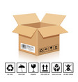 packaging box brown color with symbol isolated vector image vector image