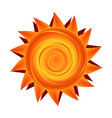 paper sun in yellow and orange sunny symbol vector image
