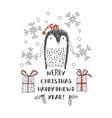 penguin in Santa hats vector image vector image