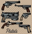 Pistols Cartoon Collection vector image vector image