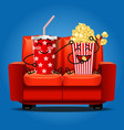 popcorn and soft drink eating popcorn vector image