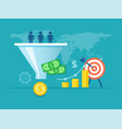purchase funnel flat vector image vector image