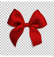 realistic red bow isolated on transparent vector image vector image
