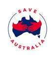 save australia hand hugs logo icon vector image vector image
