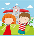 school scene with two happy kids vector image