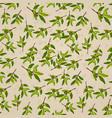 seamless pattern olive on beige paper olive branch vector image vector image