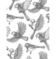 Seamless pattern with hand drawn ornate birds vector image vector image