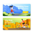 set banners with riding girl and man vector image