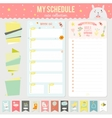 Set of cards notes and stickers with cute vector image vector image