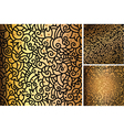 Set of hand drawn gold patterns vector image vector image