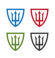 shields with neptune trident design template vector image