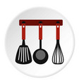spatula whisk and ladle on hanger icon vector image vector image