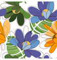 summer flowers seamless pattern in vivid colors vector image