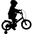 toddler boy riding bicycle high quality silhouette vector image vector image