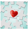 true love concept with pieces of red heart puzzle vector image vector image