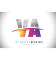 va v a letter logo design with creative lines and vector image vector image