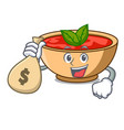 with money bag tomato soup character cartoon vector image