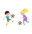 Young child boy and girl playing football vector image