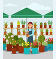 young woman selling flowers in street market stall vector image vector image