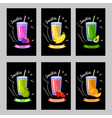 set of cards with different smoothies on a black vector image