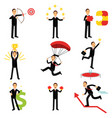 successful businessman at work metaphor set of vector image