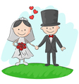 Wedding ceremony bride and groom vector image