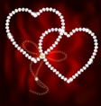 two jewel hearts vector image