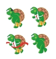 four cartoon turtles vector image