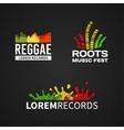 Set of reggae music equalizer logo emblem vector image