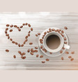 3d realistic cup coffee beans vector image vector image