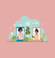 afro couple in smartphone on landscape vector image vector image