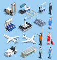 airport isometric elements set vector image vector image