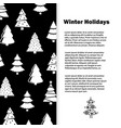 black and white winter holidays with christmas vector image