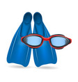 blue flippers and red swimming glasses vector image