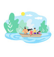 boat floating down river fishing good weather vector image