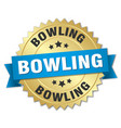 bowling round isolated gold badge vector image vector image