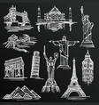 chalkboard sketch of hand drawn tourist places vector image vector image