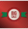 Christmas Sale red Label with green Ribbon vector image