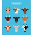 Cow heads set vector image vector image