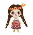 cute boho girl with big eyes and feathers