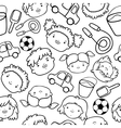 Doodle kids faces pattern vector image