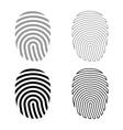 fingerprint icon set grey black color vector image