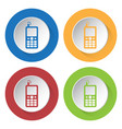 four round color icons - old mobile phone antenna vector image